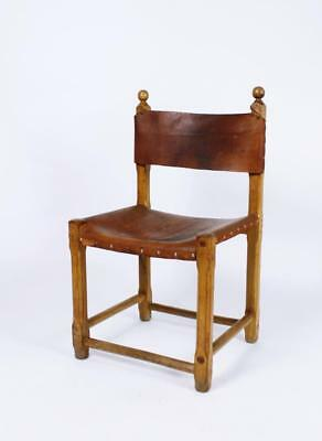 48 x VINTAGE MID CENTURY  RUSTIC HUNGARIAN  OAK AND SADDLE LEATHER CHAIRS