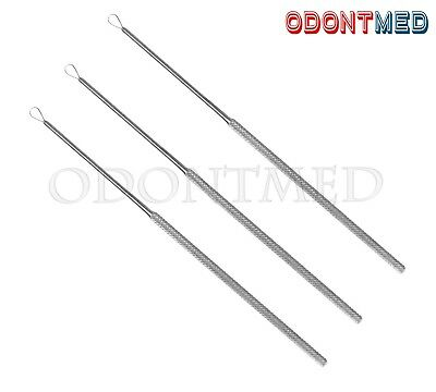 New 3 pcs Billeau Ear Loop ENT Surgical Medical Instruments Stainless Steel
