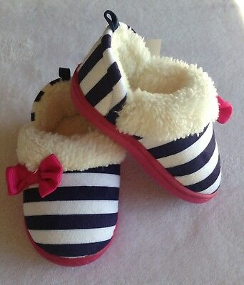 Nwt Toddler Girls Blue & White Stripe W/ Pink Bow Slippers W/ Soles Large 9-10