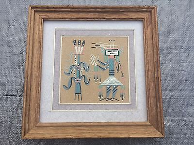 Navajo Native American Indian Sand Painting art Signed YIE