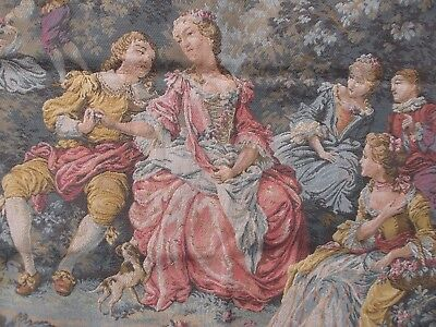 French gorgeous tapestry  charming pretty country romantic scene  38'' x 51''