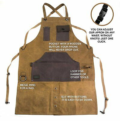 Adjustable Heavy Duty Waxed Canvas Tool Apron for Men & Women new beige color