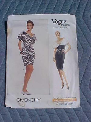 1990's Huge Drape Collar Sleeveless Dress Givenchy Vogue Sewing Pattern 2250