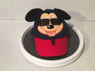 Walt Disney Parks Mickey Mouse Sunglasses Hat Baseball Cap With Ears Toddler Sz