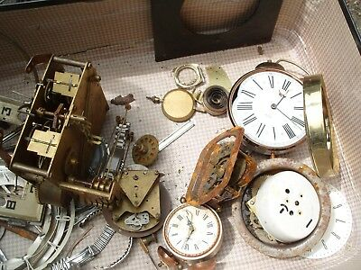 Clock Parts Mixed  Lot Of  Clock Parts Spares Steampunk