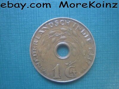 INDIA Dutch 1937 One Cent Netherlands Hole in Middle Coin