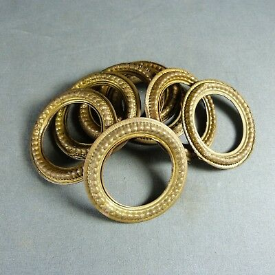 Antique French Vintage Set of 8 Brass Tole Curtain Hanging Rings