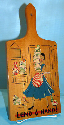 """1950's Comic Graphics Hand Painted Oak CUTTING BOARD Kitchen """"Lend A Hand"""""""