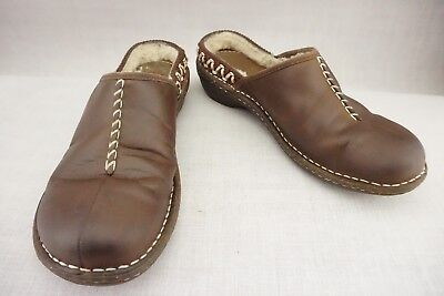 UGG KOHALA 5154 Oiled BROWN LEATHER SHEARLING MULES SHOES SLIDES CLOGS Women's 7