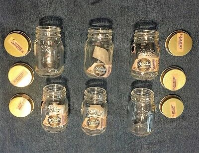 Lot of 6 EMPTY ~ MINI OLE SMOKY Tennessee MOONSHINE MASON JARS ~ 50 ml each jar
