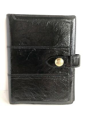 "COACH Black Gold Patent Leather Diary Book Planner Agenda Organizer 6.5""x8.5"""
