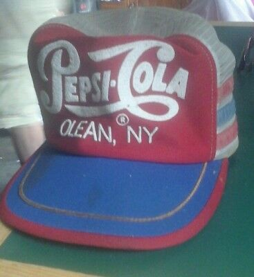 VINTAGE 1980s PEPSI COLA, olean, NY SNAPBACK TRUCKER'S CAP/HAT! MADE IN USA