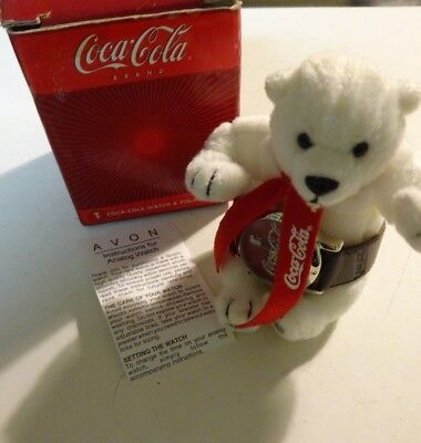"2002 Coca-Cola 4"" Plush Polar Bear with Coke Watch, leather band NEW Avon"