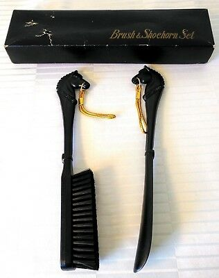 Vintage Black Plastic Horse Head Shoe Brush and Shoehorn Set Horse Lover w Box