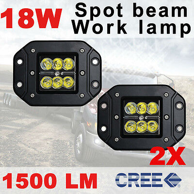 2x 18W 4inch Flush Mount Spot CUBE PODS 3x3 Reverse Led Work Light Jeep ATV SUVs