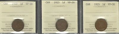 1922 1923 1925 Small Cent ICCS VF-30 RARE 3 LOWEST Mintage KEY Canada Penny Lot