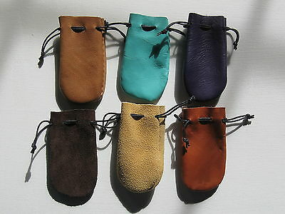Clearance Lot Of 6 Small  Leather Coin Pouch Or Bags   Free Shipping In Usa.