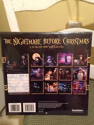 Collectible Nightmare Before Christmas 16 Month 2008 Wall Calandar Brand New