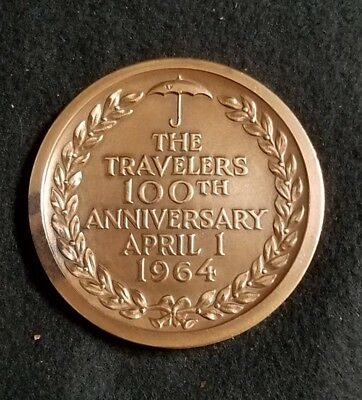Vintage Travelers Insurance 1964 Brass Paperweight 100th Anniversary