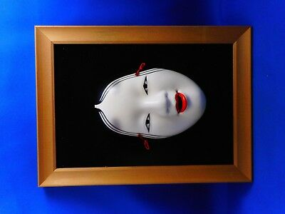 Very rare Real old Japanese pottery Beautiful Noh mask Maiden character  #グロ3