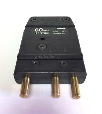 Marinco Bates 60M 60A-125V Male 3-Pin Stage Lighting Connector