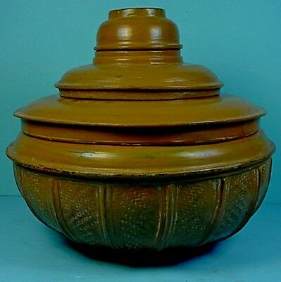 19th CENTURY BURMESE BUDDHIST MONK'S LACQUER & WOVEN BAMBOO ALMS / OFFERING BOWL