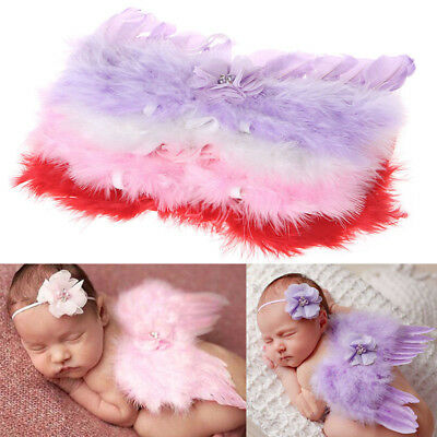 Newborn Baby Angel Wings Feather & Headband with Rhinestone Flowers Photo Prop