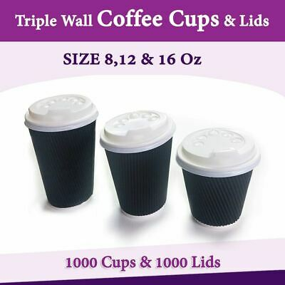 Disposable Coffee Cups 8Oz 12Oz 16Oz Takeaway Paper Triple Wall Take Bulk Cheap