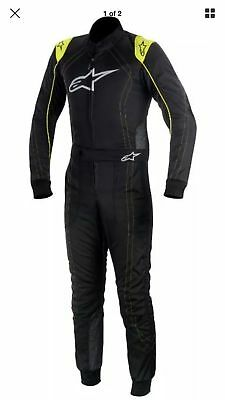Alpinestars KMX-9  Kart Race Suit Size EUR60 Black Antracite Yellow Fluro