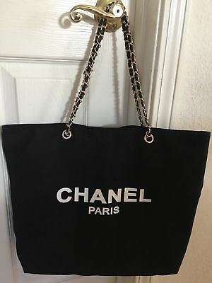 c21939d4542 Chanel VIP Gift Black Canvas Tote Bag Shopping Travel Shopper Leather Chain