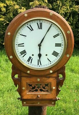 Vintage Antique New Haven Large Wooden Wall Clock With Mother of Pearl Inlay *