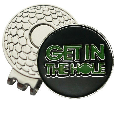 1 x New Magnetic Hat Clip & Get In The Hole Golf Ball Marker For Golf Hat /Visor