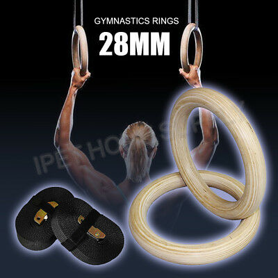 Wood Gymnastic Ring Olympic Strength Training Gym Rings Wooden for Crossfit