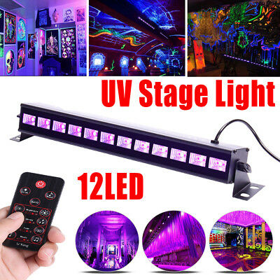 12LED UV Stage Black Light Wall Washer Lamp DMX Bar Can DJ Disco Party Lighting