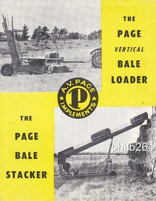 1960's Page Vertical Bale Loader Bale Stacker catalogue brochure
