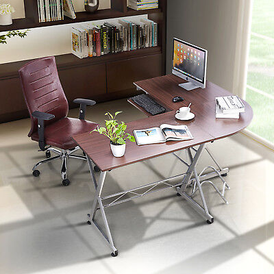 L-Shaped Corner Computer Desk PC Laptop Table Workstation Wood Home Office