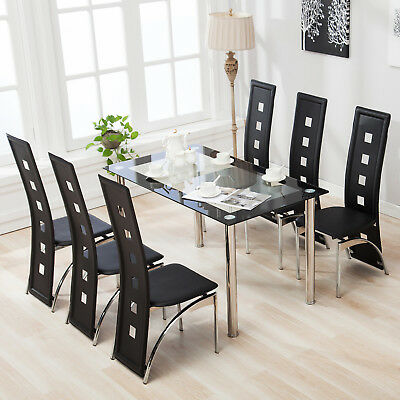 706c0bc2319ed 7 Piece Dining Table Set with 6 Chairs Glass Metal Kitchen Breakfast  Furniture