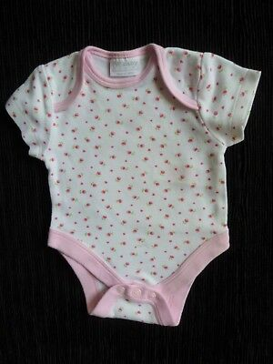 Baby clothes GIRL premature/tiny<7.5lb/3.4k SS soft bodysuit/top white/pink rose