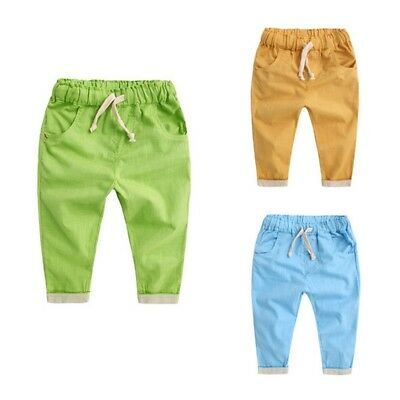 US Baby Kids Soft Cotton Harem Pants Summer Boy Girl Casual Trousers Pants 2-7Y