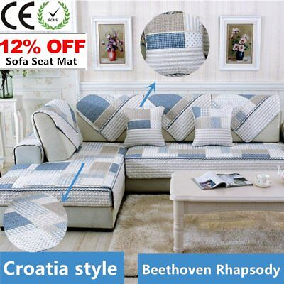 Four Seasons Modern Sofa Furniture Couch Seats Mat Cotton Cover Non-Slip F2