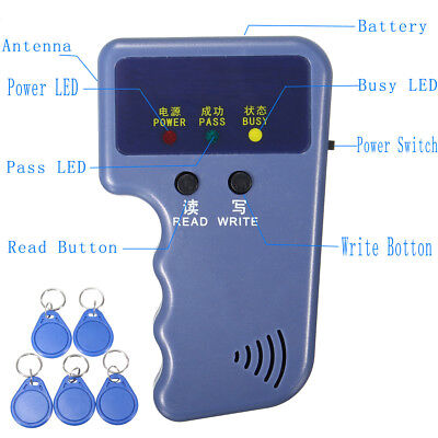 125KHz Handheld RFID ID Card Writer/Copier Duplicator with 5Pcs ID Tags Keychain