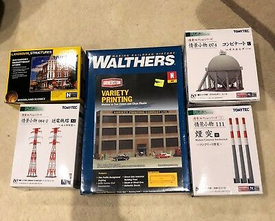 N Scale Building Kits, Walthers, Woodland Scenics, Tomytec