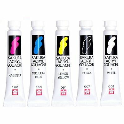 Sakura Color Paints Aacrylic Gouache 5 Color Set AGW5 Japan Free Shipping