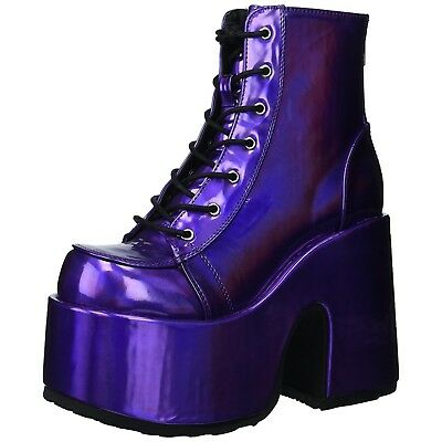 Purple Hologram Punk Goth Platform Chunky Heel Lace Up Ankle Boots Womens Shoes