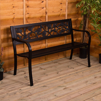 Steel Garden Bench Rose 3 Seater Outdoor Patio Park Seating Home Furniture Seat