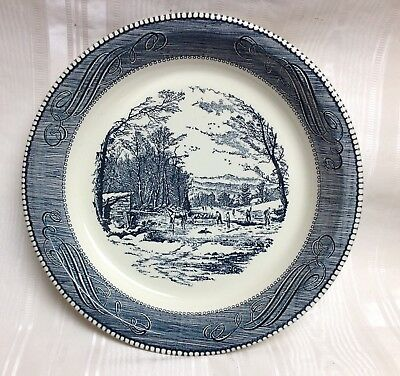 Blue Currier \u0026 Ives/Royal China 10\  Pie Plate/Server \ Winter & BLUE CURRIER \u0026 Ives/Royal China 10\