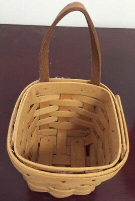 LONGABERGER BASKET signed 2000 with leather strap hanging