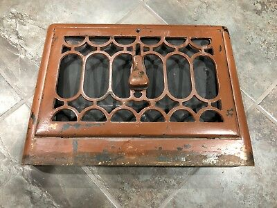 Antique Cast Iron Metal Floor Wall Register Grate Vent Cover Heating Victorian