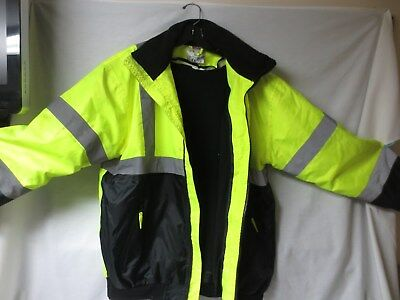 Vis Gear High Visibility Coat Zip Out Thermal Lining Large