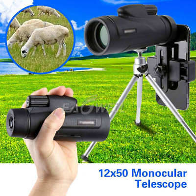 12x50 Zoom Optical Camera Lens Monocular Telescope Clip-on+Tripod For Cell Phone
